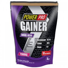 Гейнер PowerPro Gainer, 4 кг - ренклод (слива)