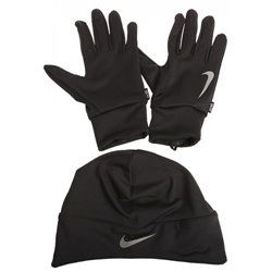 Беговые Шапка/Перчатки Nike DRI-FIT MENS RUNNING BEANIEGLOVE SET S BLACKSILVER